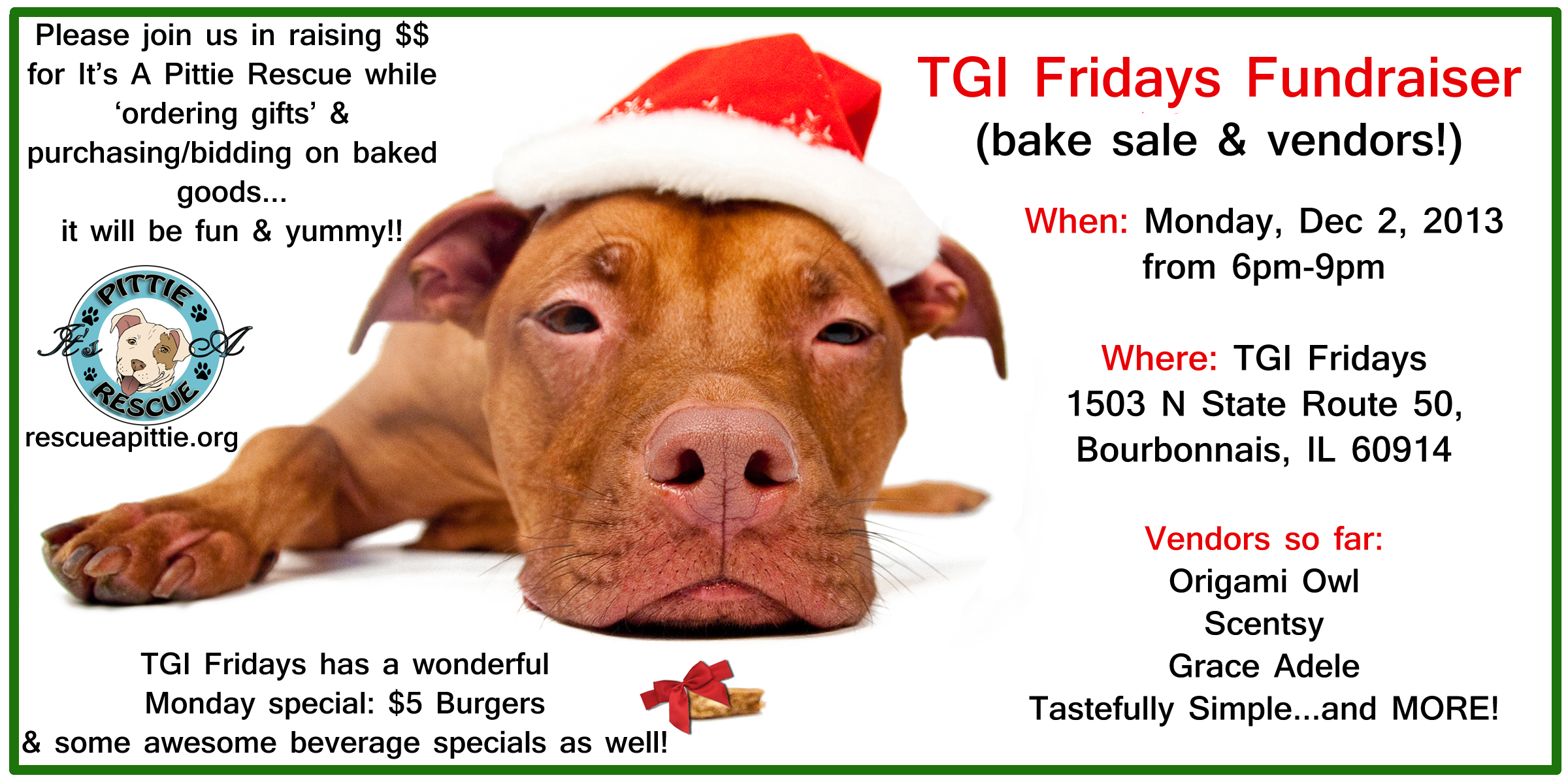 tgi fridays fundraiser bake vendors it s a pittie rescue facebook event page